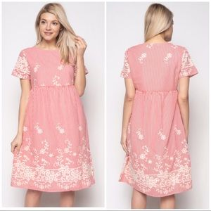 Dresses & Skirts - Embroidered Midi Dress with Pockets